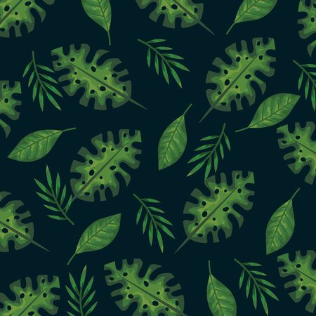 exotic branches plant with tropical leaves background vector illustration
