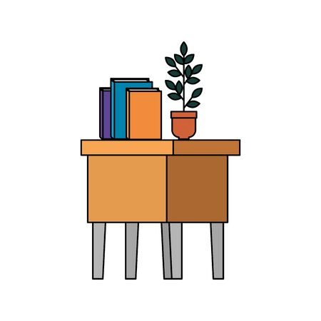 Illustration for table wooden with books and houseplant vector illustration design - Royalty Free Image