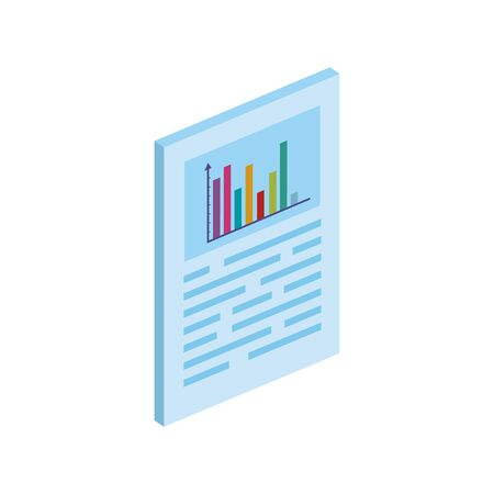 Illustration pour document with bars statistical graph isolated icon vector illustration design - image libre de droit