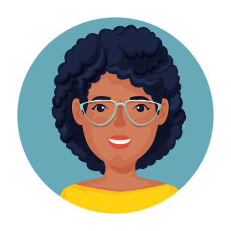 Illustration pour beautiful woman afro with glasses in frame circular vector illustration design - image libre de droit