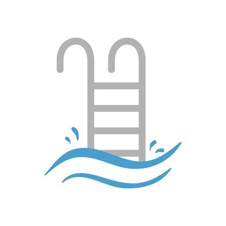 Ilustración de Hotel pool and ladder icon design of travel service reception room resort accommodation motel lobby and vacation theme Vector illustration - Imagen libre de derechos