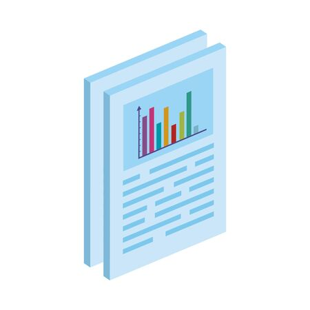 Illustration pour documents with bars statistical graph isolated icon vector illustration design - image libre de droit