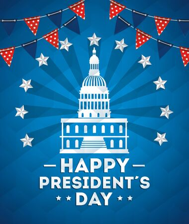 Illustration for happy presidents day with american parliament silhouette vector illustration design - Royalty Free Image