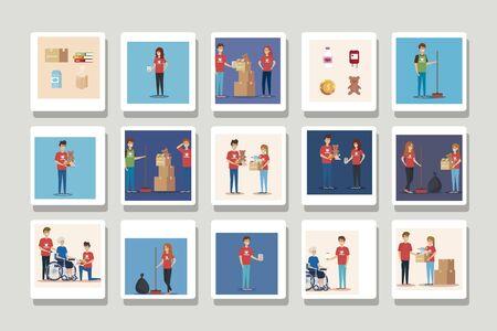 Illustration for set of scenes donation charity vector illustration design - Royalty Free Image