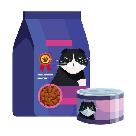 Illustration for bag and can of food for cat isolated icon vector illustration design - Royalty Free Image
