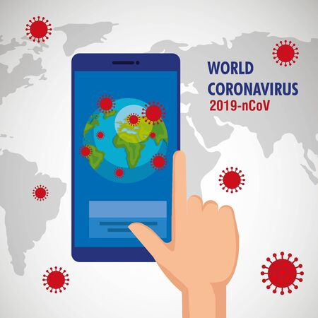 Foto für hand human using smartphone with earth planet of covid19 vector illustration design - Lizenzfreies Bild