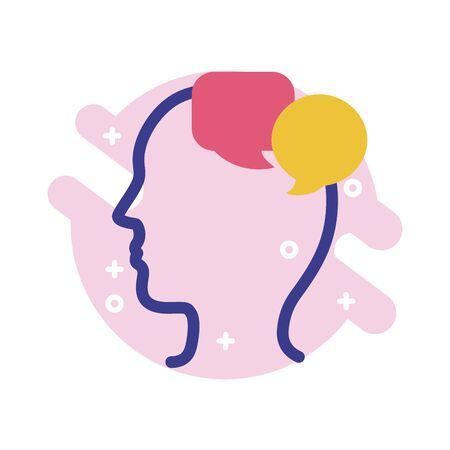 Illustration for profile with speech bubbles mental health line style icon vector illustration design - Royalty Free Image