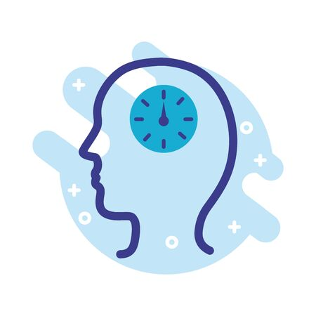 Illustration for profile with time clock mental health line style icon vector illustration design - Royalty Free Image