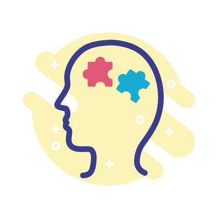 Illustration for profile with puzzle pieces mental health line style icon vector illustration design - Royalty Free Image