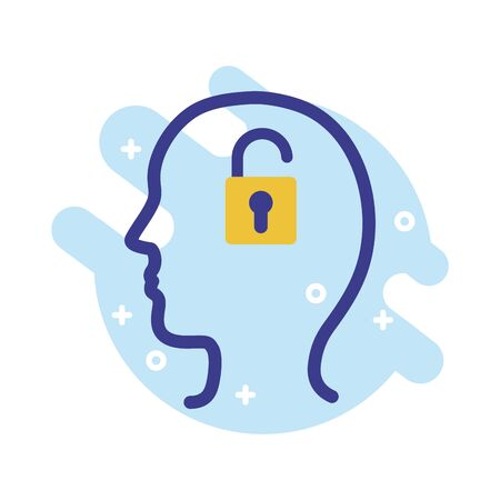 Illustration for profile with padlock mental health line style icon vector illustration design - Royalty Free Image