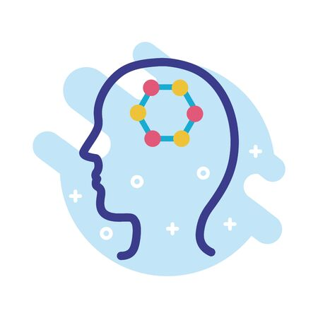 Illustration for profile with dna structure mental health line style icon vector illustration design - Royalty Free Image