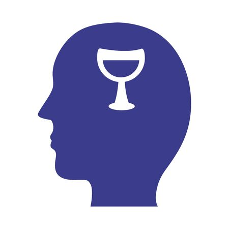 Illustration for profile with wine cup mental health silhouette style icon vector illustration design - Royalty Free Image