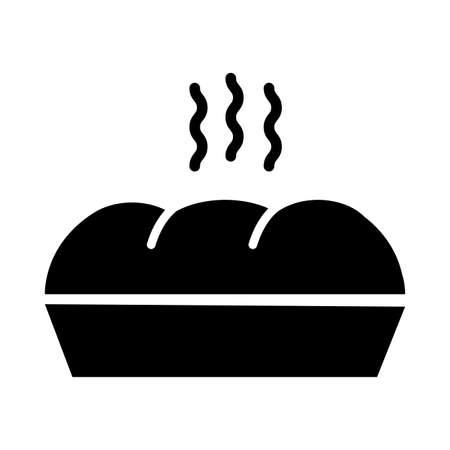 delicious hot bread silhouette style icon vector illustration design
