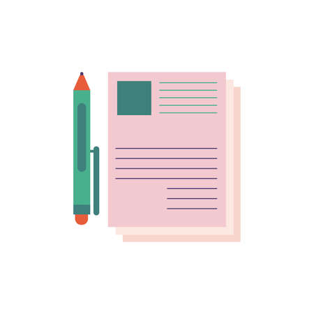 documents with pen school supply flat style vector illustration design
