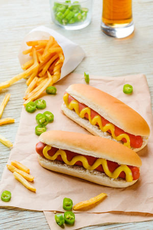 Foto per Hot dogs and beer - Immagine Royalty Free