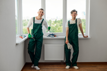 Photo for Two colleagues doing home repair - Royalty Free Image