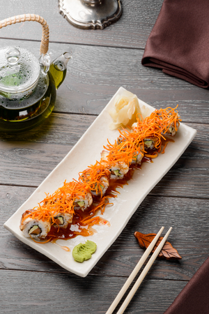 Photo for Delicious maki rolls on white - Royalty Free Image