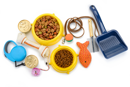 Foto de Pet supplies on white background - Imagen libre de derechos