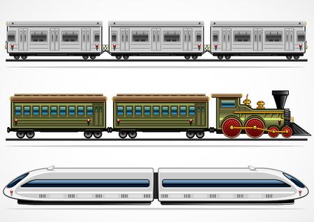 Ilustración de Three detailed railway transports from different ages - Imagen libre de derechos