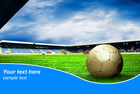 Foto de Ball on the field of stadium with blue sky and sample text - Imagen libre de derechos