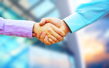 Photo for Shaking hands of two business people  - Royalty Free Image
