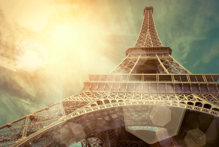 Photo for The Eiffel tower is one of the most recognizable landmarks in the world under sun light - Royalty Free Image