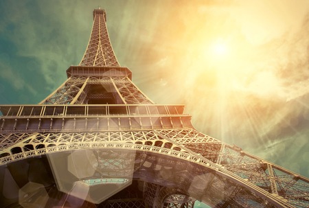 Photo pour The Eiffel tower is one of the most recognizable landmarks in the world under sun light - image libre de droit