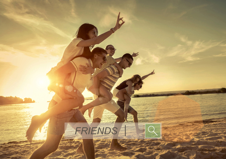 Photo for Friends fun on the beach under sunset sunlight. - Royalty Free Image
