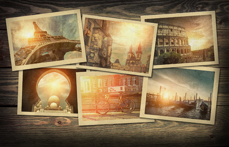 Photo for Collage travel photo cards on the wooden background - Royalty Free Image