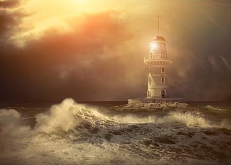 Photo for Lighthouse on the sea under sky. - Royalty Free Image