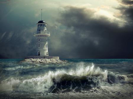 Photo pour Lighthouse on the sea under sky. - image libre de droit