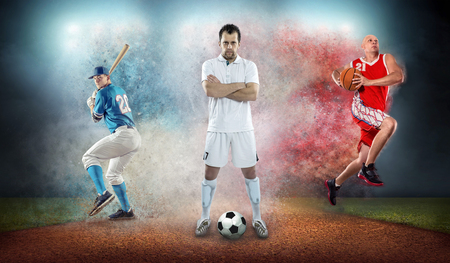 Photo pour Collage of team sport players in action around color splash drops undrer stadium lights, baseball, basketball, soccer, footbal professional sports people. - image libre de droit