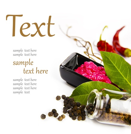 Hot spices (pepper, horseradish, bay leaf) With sample text