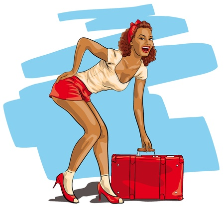 Photo for sexy woman with a travel suitcase   - Royalty Free Image