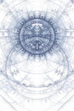 Foto de Asbtract old alchemic symbols theme, blue on white - Imagen libre de derechos