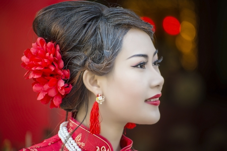 Photo for Chinese girl in traditional Chinese cheongsam blessing - Royalty Free Image