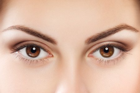 Photo pour Close up image of female brown eyes - image libre de droit