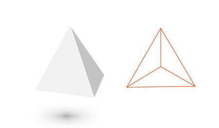 Illustration pour Tetrahedron is a geometric figure. Hipster Fashion minimalist design.Platonic solids. Tetrahedron flat design vector illustrations, thin line art. Vector illustration. - image libre de droit