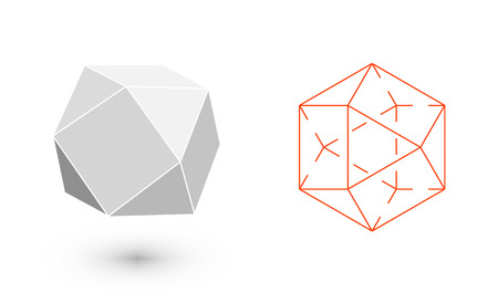 Illustration pour cuboctahedron is a geometric figure. Hipster Fashion minimalist design. Film solid bodies. cuboctahedron flat design vector illustration, fine art line. Vector illustration. - image libre de droit