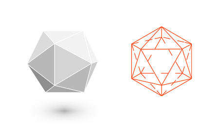 Illustration pour icosahedron is a geometric figure. Hipster Fashion minimalist design. Film solid bodies. icosahedron flat design vector illustration, fine art line. Vector illustration. - image libre de droit