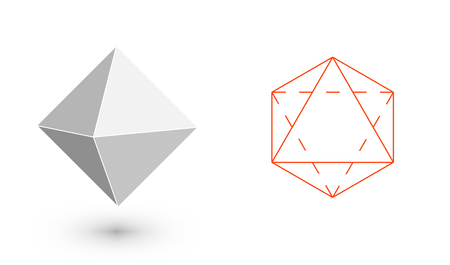 Illustration pour octahedron - geometric figure. Hipster Fashion minimalist design. Film solid bodies. octahedron flat design vector illustration, fine art line. Vector illustration. - image libre de droit