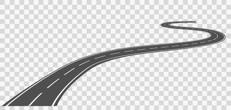 Illustration for Curved road with white markings. Vector illustration - Royalty Free Image