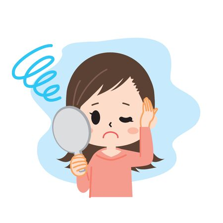 Illustration for Young woman with hair loss mirror Upper body - Royalty Free Image