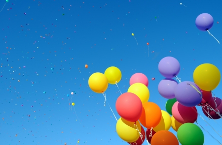 Photo for  multicolored balloons and confetti in the city festival 9 - Royalty Free Image