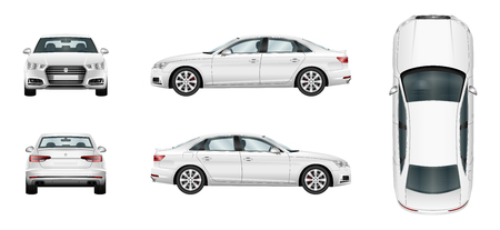 Ilustración de Car vector template on white background. Business sedan isolated. Separate groups and layers. - Imagen libre de derechos