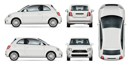 Ilustración de Mini car vector template for car branding and advertising. Isolated minicar set on white background. All layers and groups well organized for easy editing and recolor. View from side, front, back, top. - Imagen libre de derechos