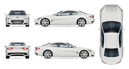 Ilustración de Car vector mock-up. Isolated template of supercar on white background. Vehicle branding mockup. Side, front, back, top view. - Imagen libre de derechos