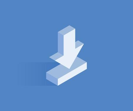 Illustration pour Download isometric icon. Vector illustration for web design in flat isometric 3D style. - image libre de droit