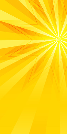 Ilustración de Advertisement flyer design elements. Yellow background with elegant graphic sun star bright light rays from. Vector illustration for template brochure, layout leaflet, newsletters - Imagen libre de derechos