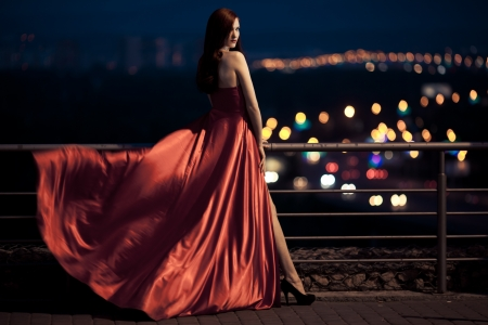 Photo for Young Beauty Famous Woman In Fluttering Red Dress Outdoor - Royalty Free Image